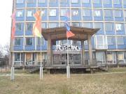 Fahnenbilder - ehemaliges Arbeitsamt, Projekt im öffentlichen Stadtraum, Dresden, 2007