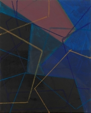 Morgenstern, Jana:    15/12; 2014, Fettkreide, Tusche, Öl auf Leinwand, 50 x 40 cm,      Foto: Herbert Boswank