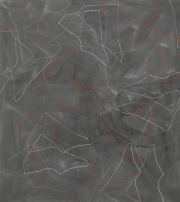 9/5,   Wachs-,  Fettkreide, Tusche auf Leinwand, 150 x 135 cm