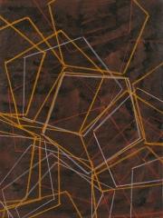 Fünfeck I, Fettkreide, Tusche auf Papier, 2015, 80 x 60 cm